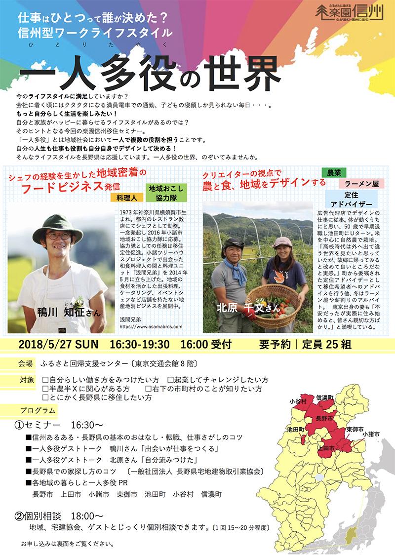 5月27日(日)東京にて楽園信州セミナー「一人多役のすすめ」のイベントチラシ