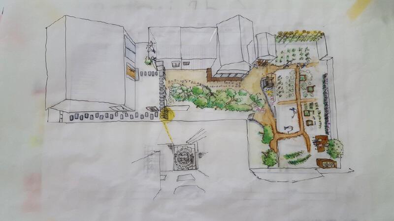 【プロジェクト第2弾】東町のフレンチレストラン〈ラ・ランコントル〉の裏にある〈シェア・ファーム〉は、2017年の夏からスタート。野菜の栽培、レストランでの料理提供、生ゴミの肥料化の循環を目指し、地域の共有農園として計画(写真提供:『まち畑プロジェクト』)
