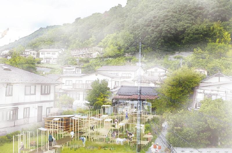【プロジェクト第3弾】ヤギと畑が人をつなぐ〈ヤギのいる庭〉は、2018年の春からスタート。戸建住居の前に広がる空き地を共有の畑にして、野菜などを栽培。除草と肥料づくりを目的に、ヤギの飼育を始めると、いつからか近隣住民の集いの場に。写真は将来像を描いたデザイン画(写真提供:『まち畑プロジェクト』)